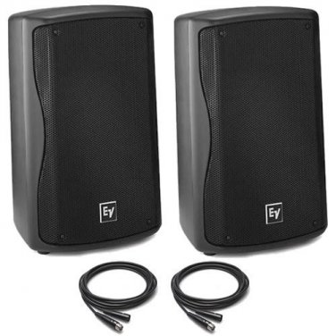 "EV Electro Voice ZXA1 8"" Active/Powered DJ PA Speakers PAIR + 25' XLR Cables NEW"