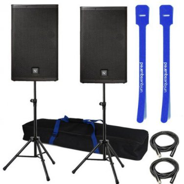 """Electro-Voice ELX115P 15"""" PA Speaker Pair w/ Stands + XLR cables + Cable Ties"""