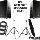 "Electro-Voice ETX-15P 15"" Two-Way Speaker Stands w/ Bag and (2) XLR Cables 20ft Ea."