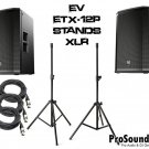 "Electro-Voice ETX-12P 12"" Two-Way W/ Speaker Stands w/ Bag and (2) PSC XLR Cables 20ft"