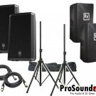 """Electro-Voice ZLX-15P 15"""" 2-Way (2) ZLX15P Cover / (2) Xlr to Xlr Cables 20ft ea + Stand"""