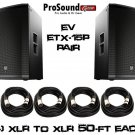 "Electro-Voice ETX-15P 15"" Two-Way Free - (4) PSC XLR to XLR 50ft Ea cable -"