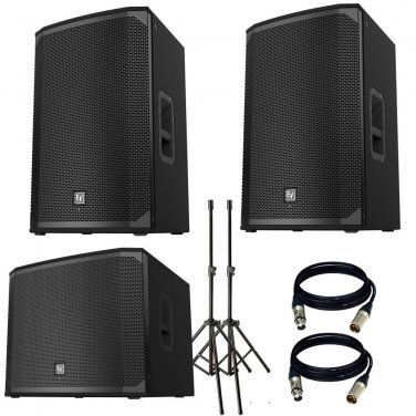 "Electro-Voice EKX-15P Powered .With EKX-18SP Powered 18"" Subwoofer, Stand and 2 XLR Cables"