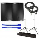 "JBL EON615 Powered 15"" w/ Tripod Speaker Stand Pair and Bag, XLR Cables & Cable Ties"