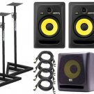 KRK RP8G3-NA Rokit 8 Generation 3 (Pair) + KRK K10S + Stands (Pair) + (4) XLR Cables 18ft