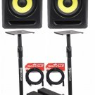 "(2) KRK RP6-G3 Rokit Powered 6"" Powered Studio Monitors+Stands+MOPAD+2 Cables"