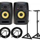 KRK VXT4 Active Studio Monitor + Heavy Duty Monitor Stands (Set of 2) and (2) XLR Cables 18ft each