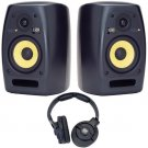 KRK VXT6 Pair of Two-Way Active Studio Monitors and KNS 6400 Headphones