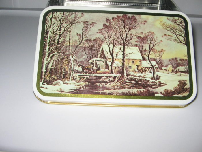 Christmas Holiday Currier and Ives Tin Box Collectible