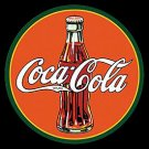 Metal Sign - Coca Cola - Round 30's Bottle & Logo