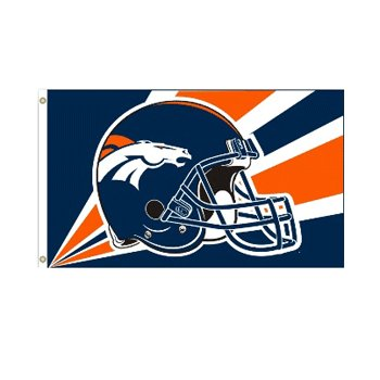 Denver Broncos NFL Helmet design 3x5 flag BSI Products -94232B