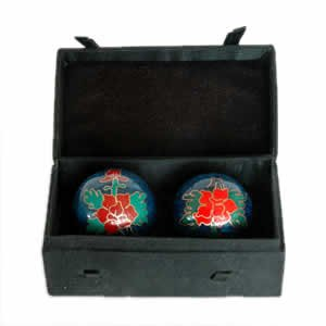 Chinese Health Balls, Cloisonne - Peony (44mm)