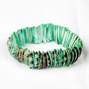 Genuine Shell Bracelet Thin - Green