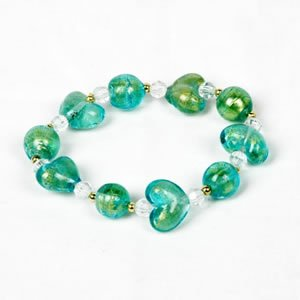 Glitter Heart Bracelet - Aqua