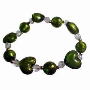 Glitter Heart Bracelet - Green