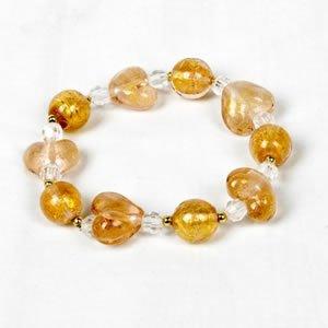 Glitter Heart Bracelet - Yellow