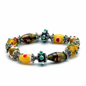 Gypsy Lampwork Bead Bracelet - Yellow