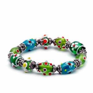Gypsy Lampwork Bead Bracelet - Green