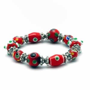 Gypsy Lampwork Bead Bracelet - Red