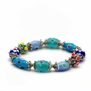Gypsy Lampwork Bead Bracelet - Aqua