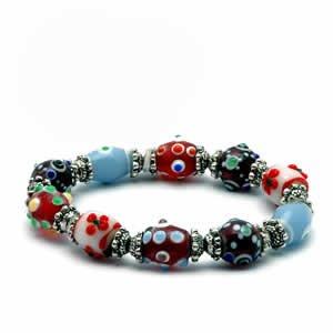 Gypsy Lampwork Bead Bracelet - Multicolor