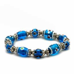 Gypsy Lampwork Bead Bracelet - Dark Blue