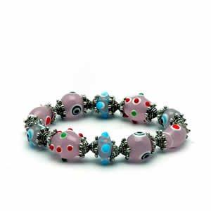 Gypsy Lampwork Bead Bracelet - Pink