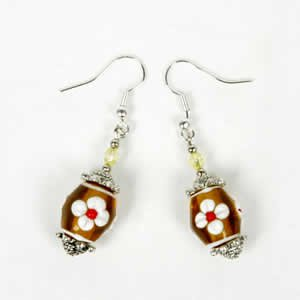Gypsy Lampwork Bead Earrings - Yellow