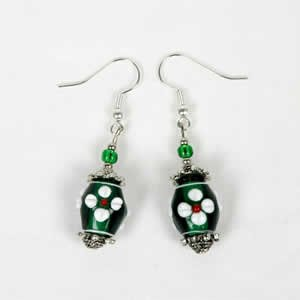 Gypsy Lampwork Bead Earrings - Green