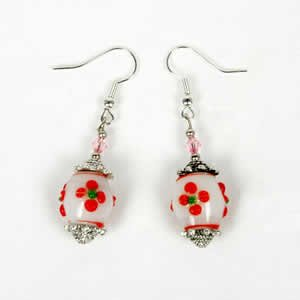 Gypsy Lampwork Bead Earrings - Red
