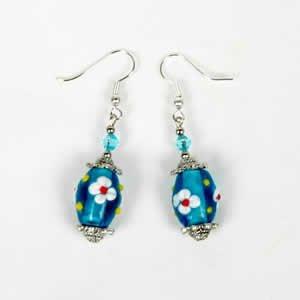 Gypsy Lampwork Bead Earrings - Aqua