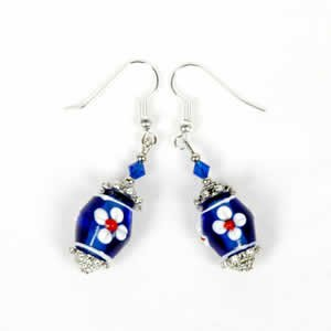 Gypsy Lampwork Bead Earrings - Dark Blue
