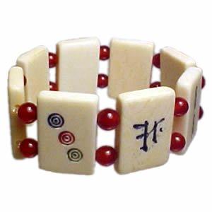 Mah Jong Bracelet - Red Bead/Carnelian Gemstone