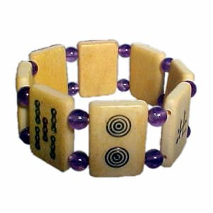 Mah Jong Bracelet - Purple Bead / Amethyst Gemstone