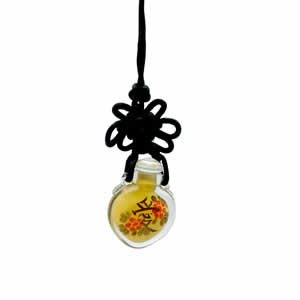 Snuff Bottle - Love Pendant on Silk Cord
