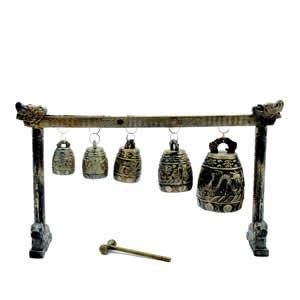 Bell - 5 Brass Bell Gong - Dragon