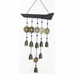 Chinese Bell Wind Chime - Brass & Wood