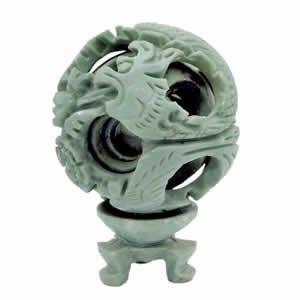 Soapstone Mystery Ball - Dragon Phoenix - 4 inch