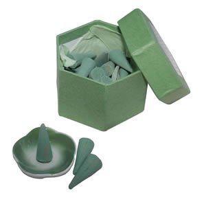 Incense Cones - Green Tea/Dark Green Window Box