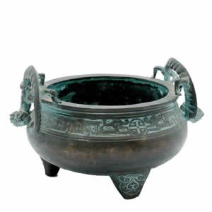 Incense Burner - Dragon Temple Bowl - Brass