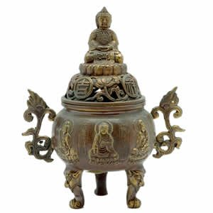 Incense Burner - Tibetan Buddha - Brass