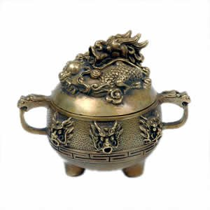 Incense Burner - Round Dragon