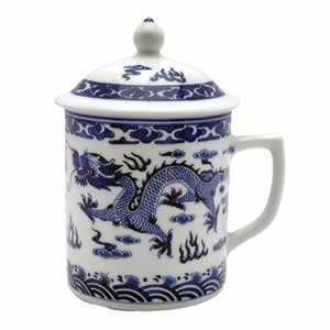 Porcelain Tea Cup - White/Blue Dragon Symbol