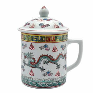 Porcelain Tea Cup - White/Green Dragon & Symbols