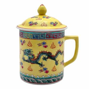 Porcelain Tea Cup - Yellow/Green Dragon & Symbols