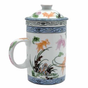 Porcelain Tea Cup - Strainer - Nature - Fish