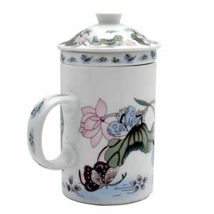 Porcelain Tea Cup - Strainer - Nature - Butterfly