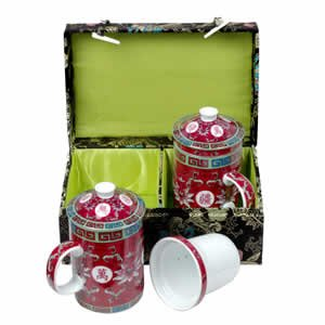 Tea Mugs - Tea for Two - Black with Fuchsia Cups