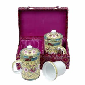 Tea Mugs - Tea for Two - Lavender with Yellow Cups