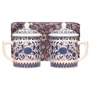 Tea Mugs - Tea for Two - Blue Floral Cups